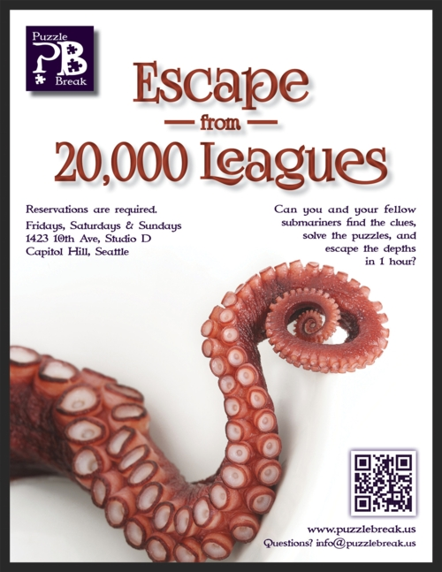 Escape Game Escape from Twenty Thousand Leagues, Puzzle Break. San Francisco.